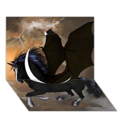 Awesome Dark Unicorn With Clouds Circle 3d Greeting Card (7x5)
