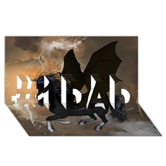Awesome Dark Unicorn With Clouds #1 Dad 3d Greeting Card (8x4)