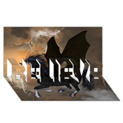 Awesome Dark Unicorn With Clouds BELIEVE 3D Greeting Card (8x4)