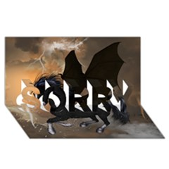 Awesome Dark Unicorn With Clouds SORRY 3D Greeting Card (8x4)