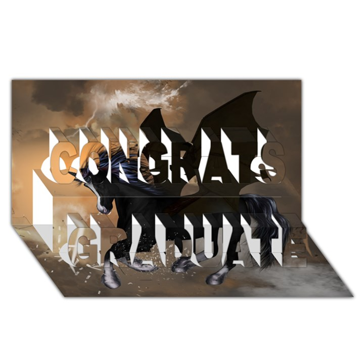 Awesome Dark Unicorn With Clouds Congrats Graduate 3D Greeting Card (8x4)