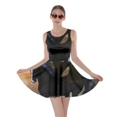 Awesome Dark Unicorn With Clouds Skater Dresses