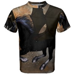 Awesome Dark Unicorn With Clouds Men s Cotton Tees