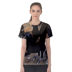 Awesome Dark Unicorn With Clouds Women s Sport Mesh Tees