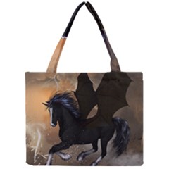 Awesome Dark Unicorn With Clouds Tiny Tote Bags