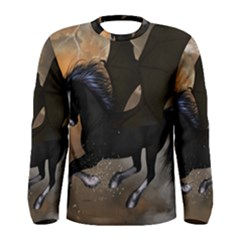 Awesome Dark Unicorn With Clouds Men s Long Sleeve T-shirts