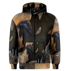 Awesome Dark Unicorn With Clouds Men s Zipper Hoodies