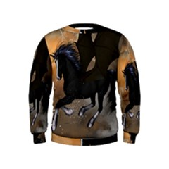 Awesome Dark Unicorn With Clouds Boys  Sweatshirts
