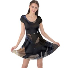 Awesome Dark Unicorn With Clouds Cap Sleeve Dresses