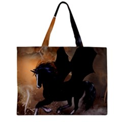 Awesome Dark Unicorn With Clouds Zipper Tiny Tote Bags