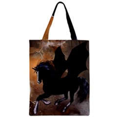 Awesome Dark Unicorn With Clouds Zipper Classic Tote Bags