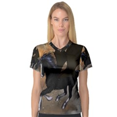 Awesome Dark Unicorn With Clouds Women s V-Neck Sport Mesh Tee