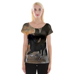 Awesome Dark Unicorn With Clouds Women s Cap Sleeve Top