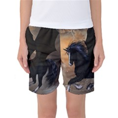 Awesome Dark Unicorn With Clouds Women s Basketball Shorts