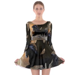 Awesome Dark Unicorn With Clouds Long Sleeve Skater Dress