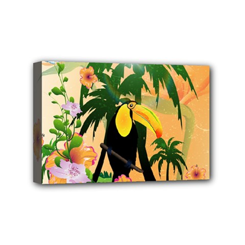 Cute Toucan With Palm And Flowers Mini Canvas 6  X 4