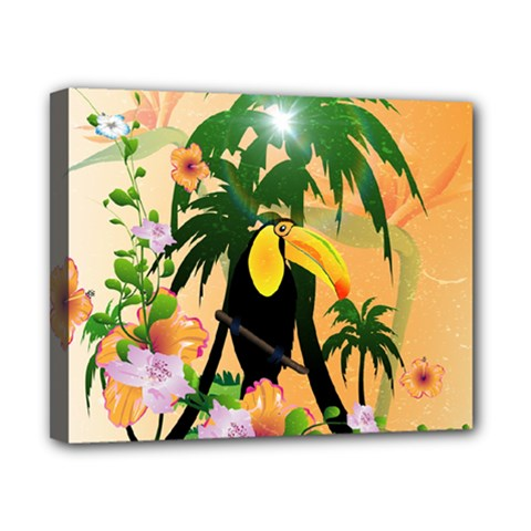 Cute Toucan With Palm And Flowers Canvas 10  X 8