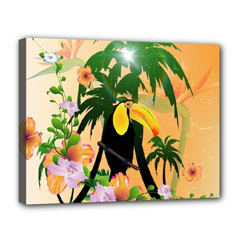 Cute Toucan With Palm And Flowers Canvas 14  X 11
