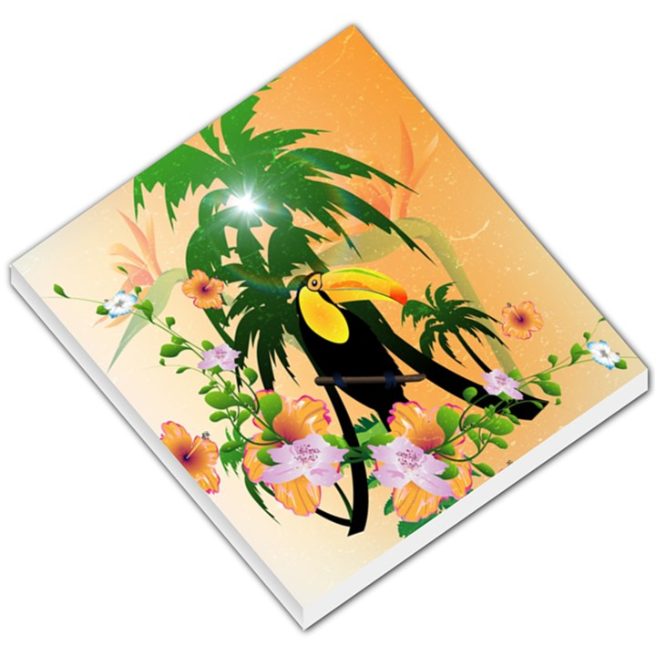 Cute Toucan With Palm And Flowers Small Memo Pads