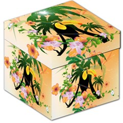 Cute Toucan With Palm And Flowers Storage Stool 12