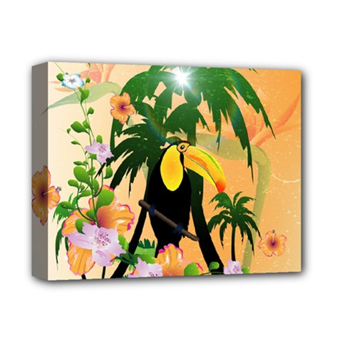 Cute Toucan With Palm And Flowers Deluxe Canvas 14  x 11