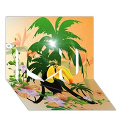 Cute Toucan With Palm And Flowers I Love You 3D Greeting Card (7x5)