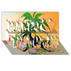 Cute Toucan With Palm And Flowers Happy Birthday 3D Greeting Card (8x4)