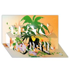 Cute Toucan With Palm And Flowers Best Friends 3D Greeting Card (8x4)
