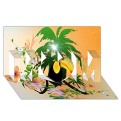 Cute Toucan With Palm And Flowers Mom 3d Greeting Card (8x4)