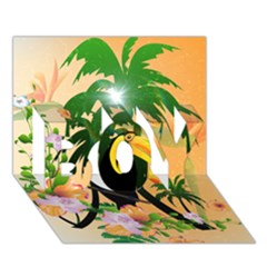 Cute Toucan With Palm And Flowers BOY 3D Greeting Card (7x5)