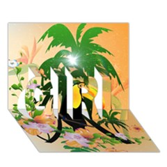 Cute Toucan With Palm And Flowers GIRL 3D Greeting Card (7x5)