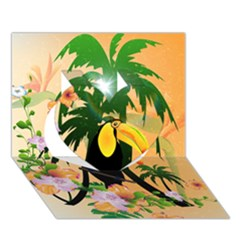 Cute Toucan With Palm And Flowers Heart 3d Greeting Card (7x5)