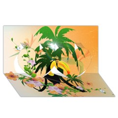 Cute Toucan With Palm And Flowers Twin Hearts 3D Greeting Card (8x4)