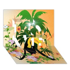 Cute Toucan With Palm And Flowers Love 3d Greeting Card (7x5)