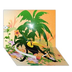 Cute Toucan With Palm And Flowers Heart Bottom 3D Greeting Card (7x5)