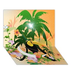 Cute Toucan With Palm And Flowers Circle Bottom 3d Greeting Card (7x5)