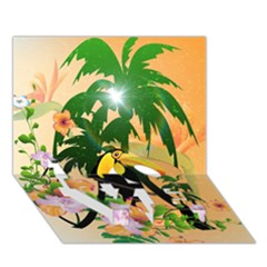 Cute Toucan With Palm And Flowers Love Bottom 3d Greeting Card (7x5)