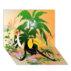 Cute Toucan With Palm And Flowers Apple 3D Greeting Card (7x5)