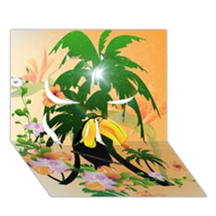 Cute Toucan With Palm And Flowers Clover 3d Greeting Card (7x5)