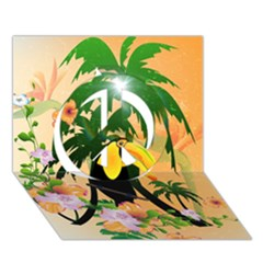 Cute Toucan With Palm And Flowers Peace Sign 3D Greeting Card (7x5)