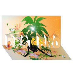Cute Toucan With Palm And Flowers BEST BRO 3D Greeting Card (8x4)