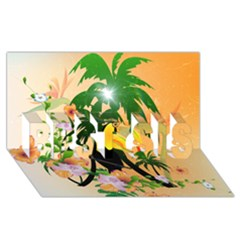 Cute Toucan With Palm And Flowers BEST SIS 3D Greeting Card (8x4)