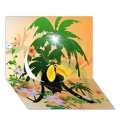 Cute Toucan With Palm And Flowers Circle 3d Greeting Card (7x5)