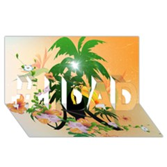 Cute Toucan With Palm And Flowers #1 DAD 3D Greeting Card (8x4)