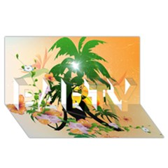 Cute Toucan With Palm And Flowers PARTY 3D Greeting Card (8x4)