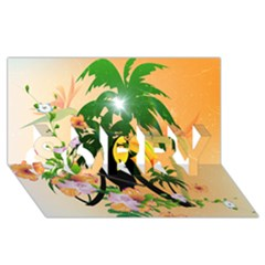 Cute Toucan With Palm And Flowers Sorry 3d Greeting Card (8x4)