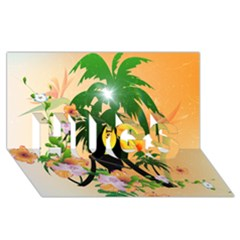 Cute Toucan With Palm And Flowers HUGS 3D Greeting Card (8x4)
