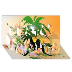 Cute Toucan With Palm And Flowers Best Wish 3D Greeting Card (8x4)