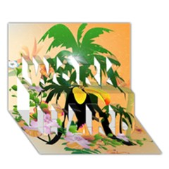 Cute Toucan With Palm And Flowers Work Hard 3d Greeting Card (7x5)