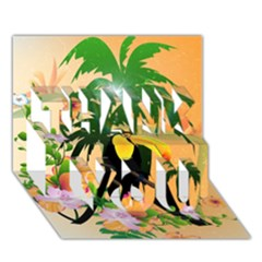 Cute Toucan With Palm And Flowers THANK YOU 3D Greeting Card (7x5)